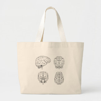 Brain from top side front and back canvas bag