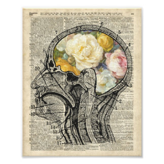 Brain Full Of Flowers,Nature Lover Dictionary Art Photo Print