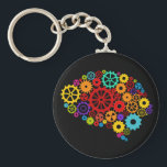 """Brain Gears Keychain<br><div class=""""desc"""">Brain Gears Design,  showing mechanics is available for a variety of products. Text adding is optional.</div>"""