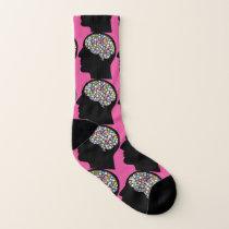 Brain Head Pink Blue Crazy Socks