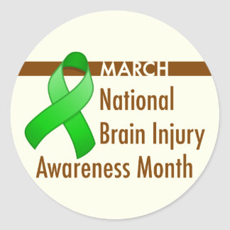 Brain Injury Awareness Month Round Sticker