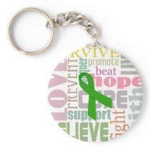 Brain Injury Green Ribbon Inspiration Keychain