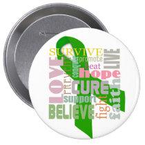Brain Injury Green Ribbon Inspiring Pin / Button