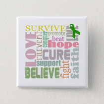 Brain Injury Inspirational Words Square Button