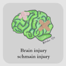 """Brain injury schmain injury"" sticker"
