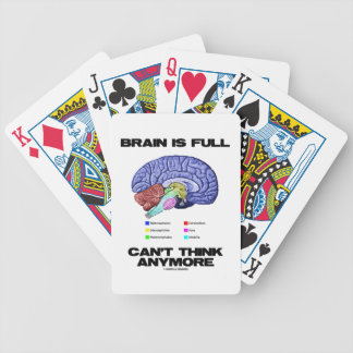 Brain Is Full Can't Think Anymore (Brain Anatomy) Bicycle Playing Cards