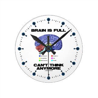Brain Is Full Can't Think Anymore (Brain Anatomy) Round Wall Clocks