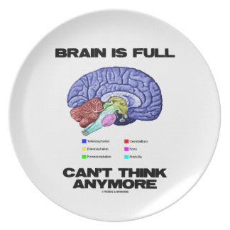 Brain Is Full Can't Think Anymore (Brain Anatomy) Dinner Plate