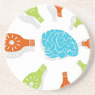 Brain Light Bulb Art Coasters