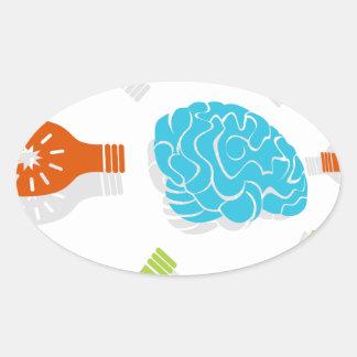 Brain Light Bulb Art Oval Sticker