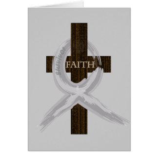 Brain & Lung Cancer Faith Cross-Gray Ribbon Card