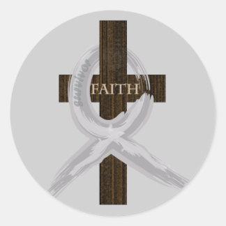 Brain & Lung Cancer Faith Cross-Gray Ribbon Classic Round Sticker
