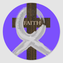 Brain & Lung Cancer Faith Cross-Gray Ribbon Classic Round Sticker