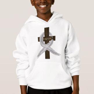 Brain & Lung Cancer Faith Cross-Gray Ribbon Hoodie