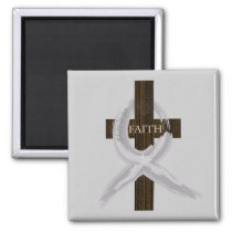 Brain & Lung Cancer Faith Cross-Gray Ribbon Magnet