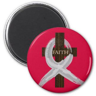 Brain & Lung Cancer Faith Cross-Gray Ribbon Magnet