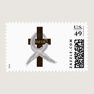 Brain & Lung Cancer Faith Cross-Gray Ribbon Postage
