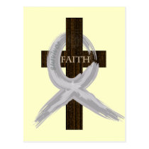 Brain & Lung Cancer Faith Cross-Gray Ribbon Postcard