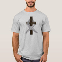 Brain & Lung Cancer Faith Cross-Gray Ribbon T-Shirt