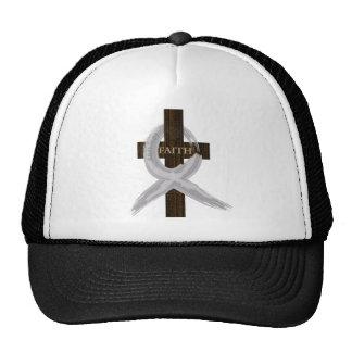 Brain & Lung Cancer Faith Cross-Gray Ribbon Trucker Hat