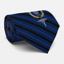Brain Mental Health Professional Monogram Blue Neck Tie