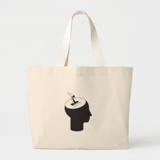 brain mode - thinking shift lever large tote bag