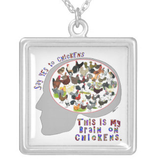 Brain On Chickens Silver Plated Necklace