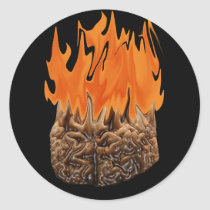 brain on fire classic round sticker