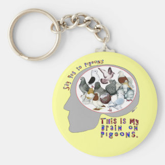 Brain On Pigeons Basic Round Button Keychain