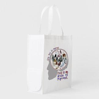 Brain On Pigeons Grocery Bag