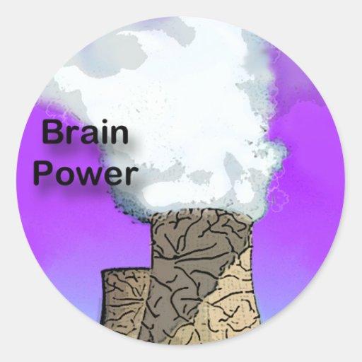 Brain Power Round Stickers