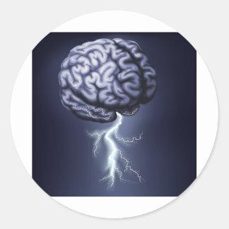 Brain Storm Illustration Round Stickers