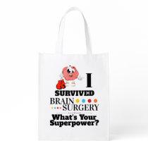 Brain surgery survivor cartoon boxing glove grocery bag