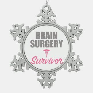 Brain Surgery Survivor Snowflake Pewter Christmas Ornament