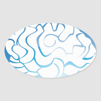 Brain Thought Blue Button Oval Sticker
