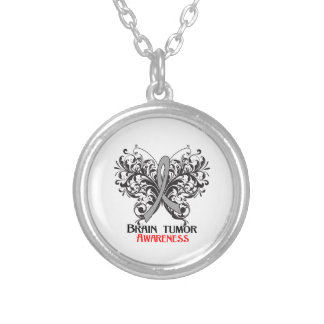 Brain Tumor Awareness Butterfly Round Pendant Necklace