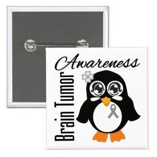 Brain Tumor Awareness Penguin Buttons