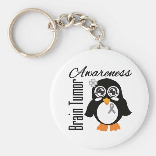 Brain Tumor Awareness Penguin Keychain