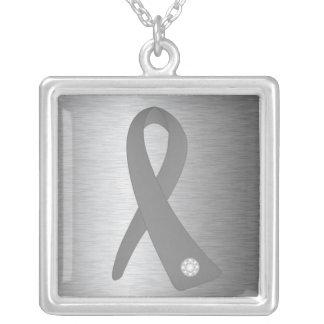 Brain Tumor Awareness Ribbon Square Pendant Necklace
