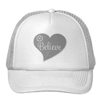 Brain Tumor Believe Gray Heart Trucker Hats