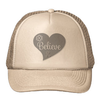 Brain Tumor Believe Gray Heart Mesh Hat