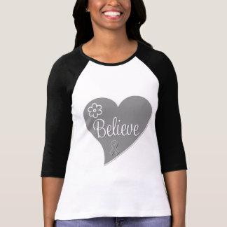 Brain Tumor Believe Gray Heart Tee Shirt