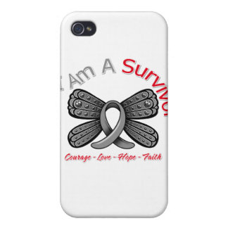 Brain Tumor Butterfly I Am A Survivor Cover For iPhone 4