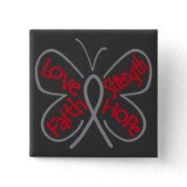 Brain Tumor Butterfly Inspiring Words Pinback Button