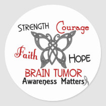 Brain Tumor Celtic Butterfly 3 Classic Round Sticker