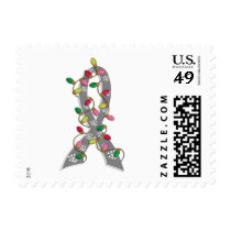 Brain Tumor Christmas Lights Ribbon Postage