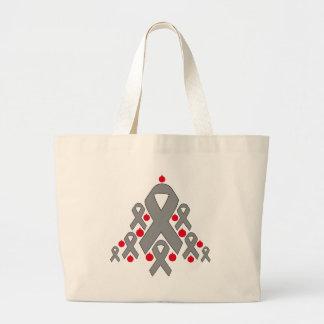 Brain Tumor Christmas Ribbon Tree Canvas Bags