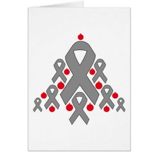 Brain Tumor Christmas Ribbon Tree Greeting Cards