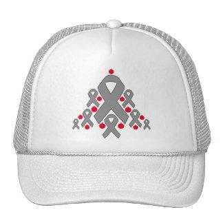 Brain Tumor Christmas Ribbon Tree Trucker Hat