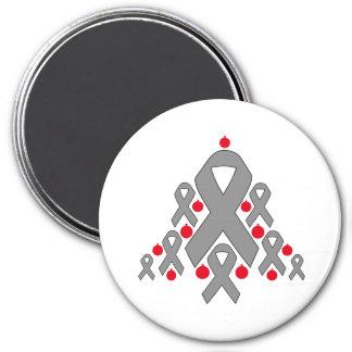 Brain Tumor Christmas Ribbon Tree Fridge Magnet